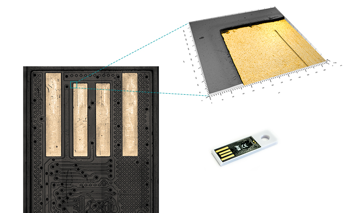 Optische Messung der Oberfläche eines USB-Sticks