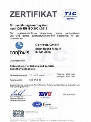 Confovis ist gemäß DIN EN ISO 9001:2015 zertfiziert